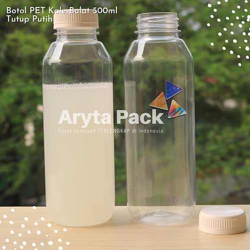 Botol plastik minuman 500ml jus kale tutup putih segel