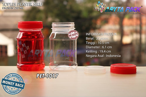 Toples plastik PET 250ml siku tutup merah