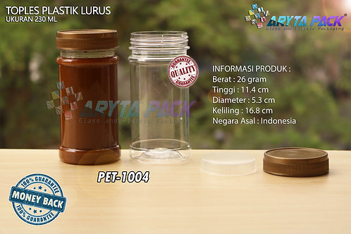 Toples plastik PET 230ml lurus tutup gold