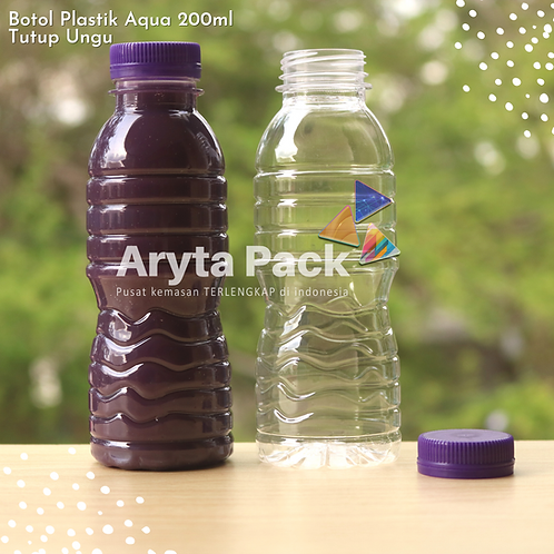 Botol plastik pet 200ml aqua tutup segel ungu