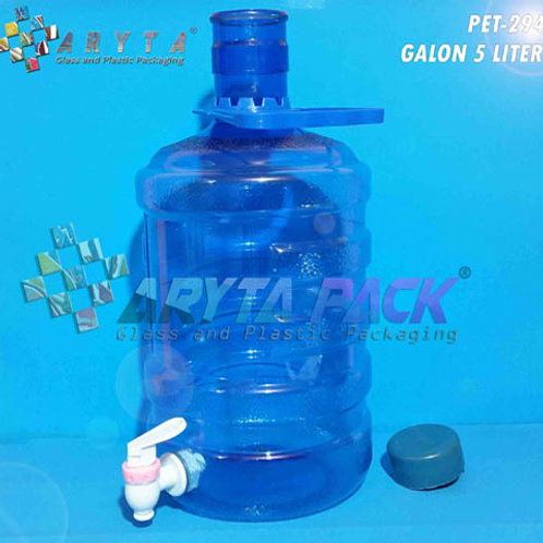 Galon plastik PET 5 liter biru + keran tutup dop biru