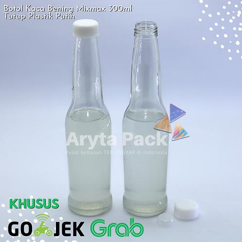 Botol kaca bening 300ml mixmax second tutup putih plastik