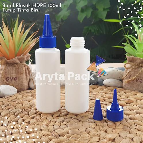 Botol plastik HDPE 100ml lena tutup tinta biru