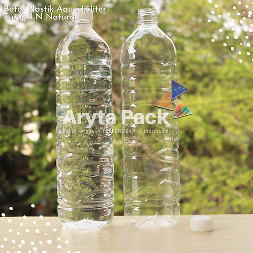 Botol plastik pet 1,5liter aqua tutup segel natural