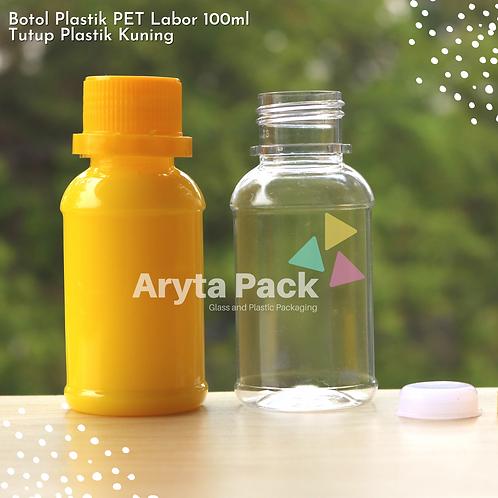 Botol plastik PET 100ml labor tutup segel kuning