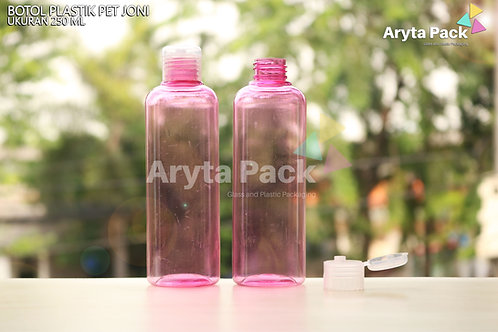 Botol plastik PET Joni 250ml pink tutup flip top natural