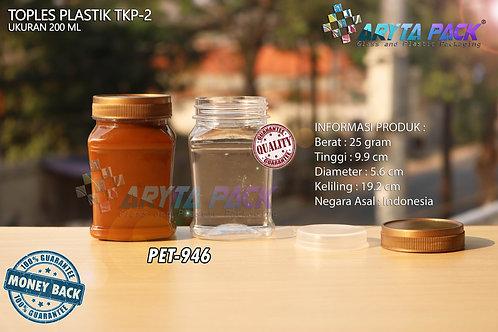 Toples plastik PET 200ml TKP-2 tutup gold
