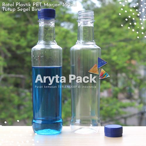 Botol plastik minuman 350ml marjan kecil tutup biru