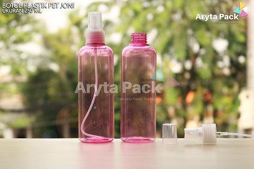 Botol plastik PET 250ml joni pink tutup spray putih susu