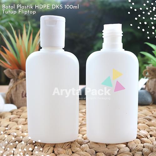 Botol plastik HDPE 100ml DKS tutup fliptop