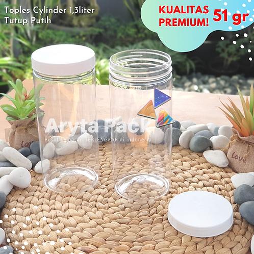 TOPLES PLASTIK PET 1300ML 1,3LITER JAR CYLINDER TABUNG TUTUP ULIR
