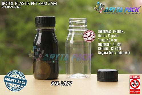 Botol plastik PET 80ml zam-zam tutup segel hitam