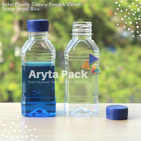 Botol plastik minuman 250ml cimory pendek tutup segel biru