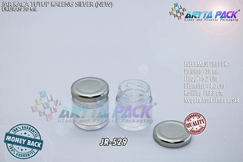 Jar kaca 30ml bulat tutup kaleng silver new