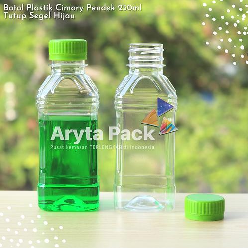 Botol plastik minuman 250ml cimory pendek tutup segel hijau