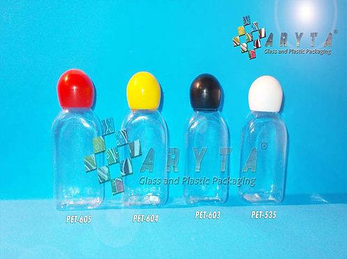 Botol plastik PET 30ml kosmetik gepeng tutup globe merah