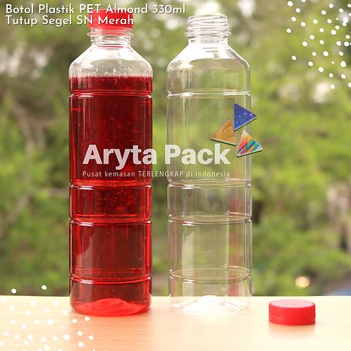 Botol plastik minuman 330ml almond tutup segel merah