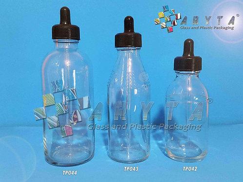 Botol kaca bening 100ml second tutup pipet hitam