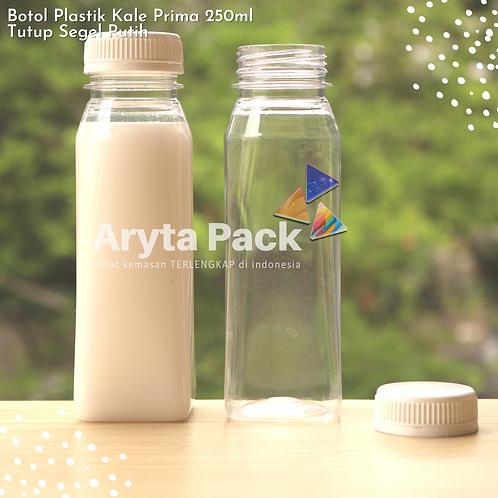 Botol plastik minuman 250ml jus kale prima tutup putih segel