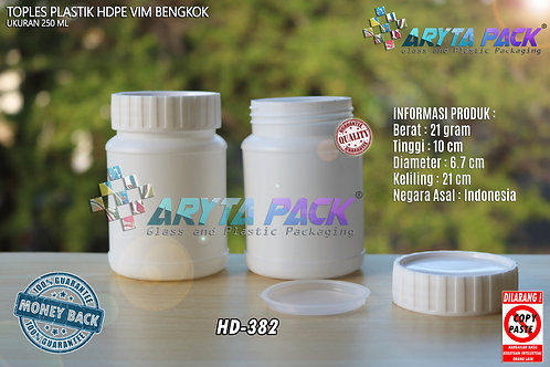 Toples plastik HDPE 250ml vim bengkok