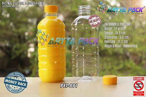 Botol plastik pet 500ml aqua tutup segel kuning