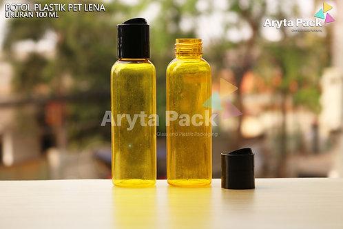 Botol plastik PET Lena 100ml  kuning tutup press on hitam