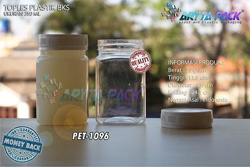 Toples plastik PET 350ml BKS tutup putih
