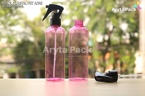 Botol plastik PET 250ml Joni pink tutup spray pistol hitam