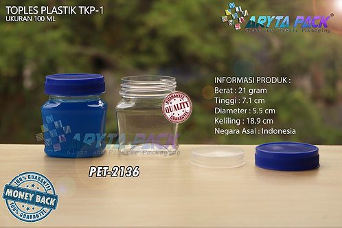 Toples plastik PET 100ml TKP-1 tutup biru