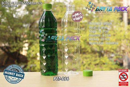 Botol plastik pet 600ml aqua tutup segel hijau