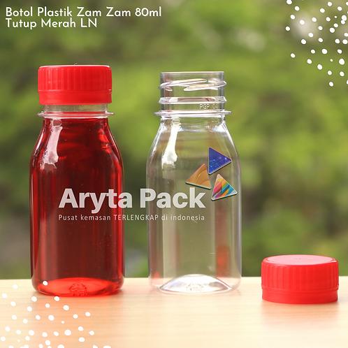 Botol plastik PET 80ml zam-zam tps tutup segel merah