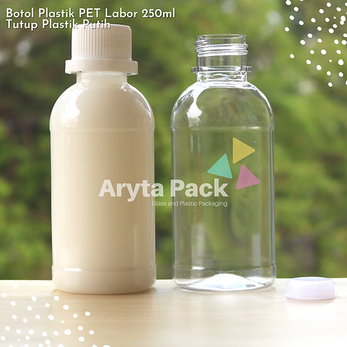 Botol plastik PET 250ml labor tutup segel putih