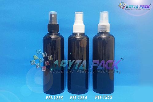 Botol plastik PET 250ml joni hitam tutup spray natural