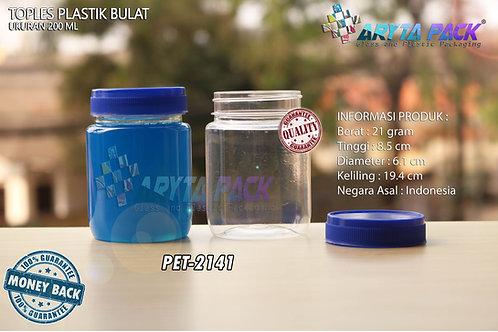 Toples plastik PET 200ml selai bulat tutup biru