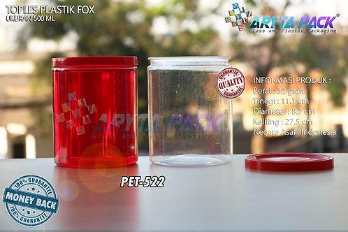 Toples plastik PET 500ml fox tutup merah