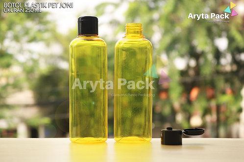 Botol plastik PET Joni 250ml kuning tutup flip top hitam