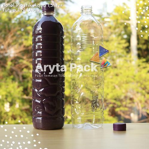 Botol plastik pet 1,5liter aqua tutup segel pendek ungu