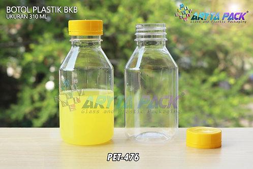 Botol plastik minuman 310ml BKB tutup segel kuning