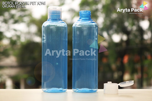 Botol plastik PET Joni 250ml biru tutup flip top natural