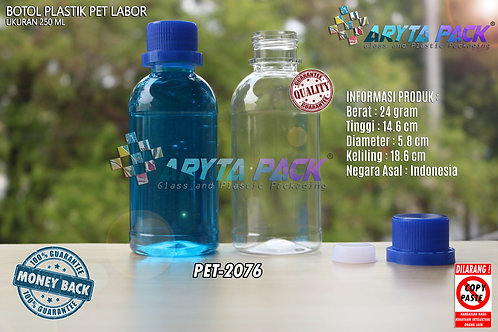 Botol plastik PET 250ml labor tutup segel biru