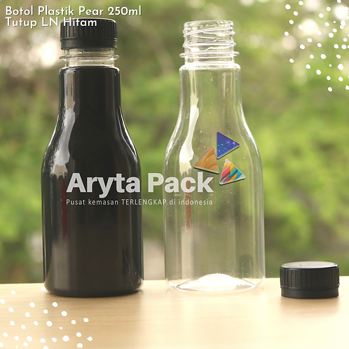 Botol plastik minuman 250ml pear tutup segel hitam