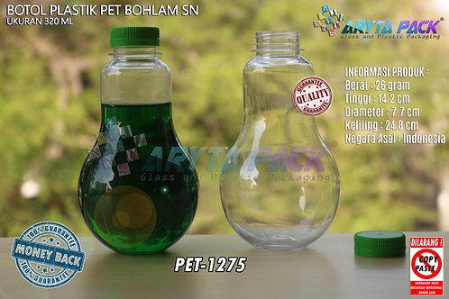 Botol plastik minuman bohlam 320ml tutup pendek hijau segel