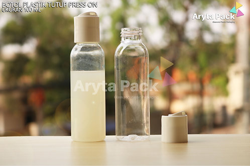 Botol plastik PET Lena 100ml natural tutup press on putih susu