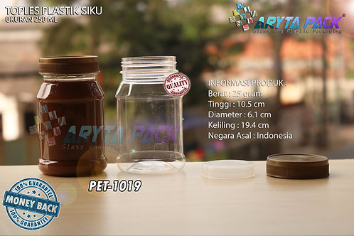 Toples plastik PET 250ml siku tutup gold
