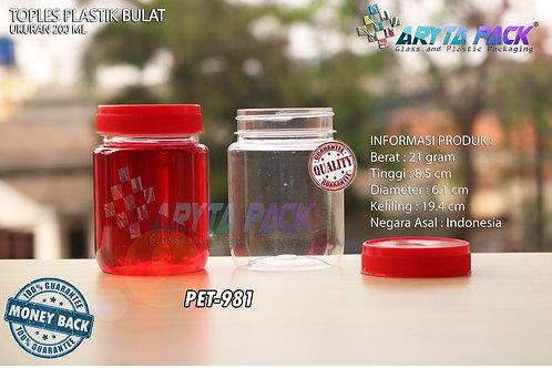Toples plastik PET 200ml selai bulat tutup merah