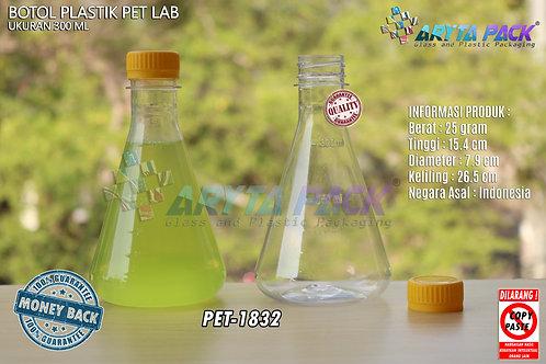 Botol plastik minuman 300ml lab tutup segel kuning