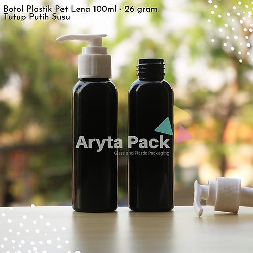Botol plastik PET 100ml Lena hitam tutup pump putih susu