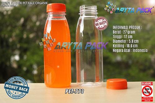 Botol plastik minuman 350ml jus organik tutup orange segel