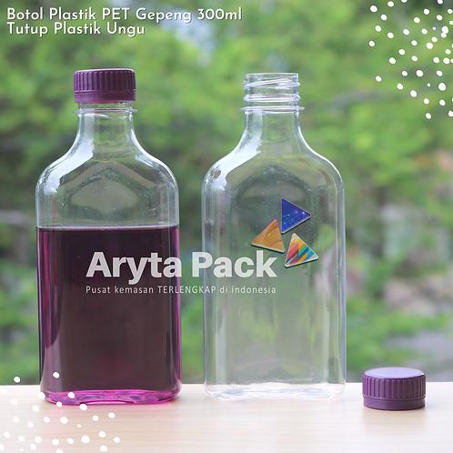 Botol plastik minuman 300ml gepeng tutup segel ungu