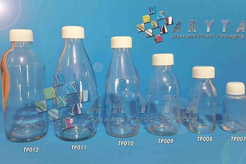 Botol kaca bening 250ml Laserin second tutup putih plastik